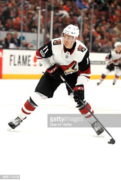 Brendan Perlini of the Arizona Coyotes takes a shot on goal during the second period of a game against the Anaheim Ducks at Honda Center on October 5...
