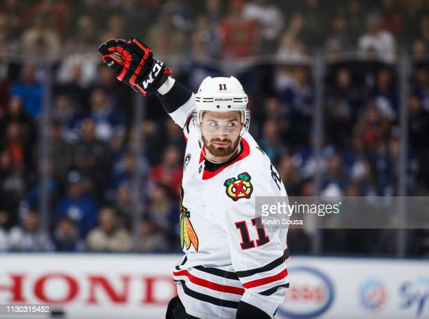 Brendan Perlini of the Chicago Blackhawks celebrates his goal against the Toronto Maple Leafs during the first period at the Scotiabank Arena on...
