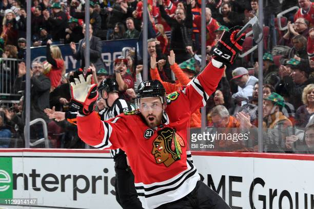 Brendan Perlini of the Chicago Blackhawks reacts after scoring against the Arizona Coyotes in the first period at the United Center on March 11 2019...
