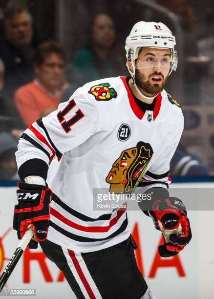 Brendan Perlini of the Chicago Blackhawks skates against the Toronto Maple Leafs during the first period at the Scotiabank Arena on March 13 2019 in...