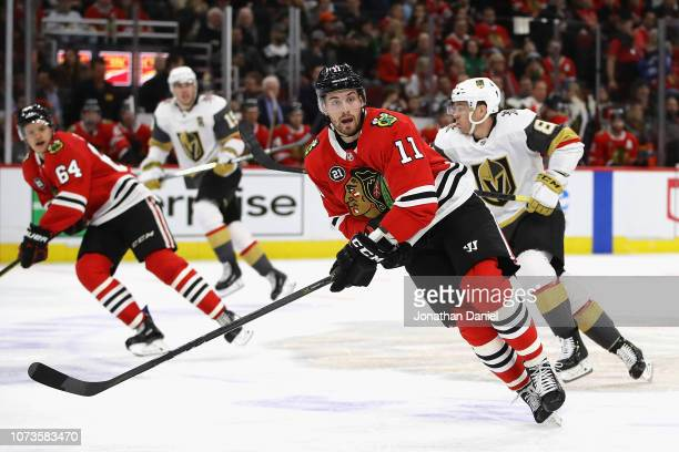 Brendan Perlini of the Chicago Blackhawks skates against the Vegas Golden Knights at the United Center on November 27 2018 in Chicago Illinois The...