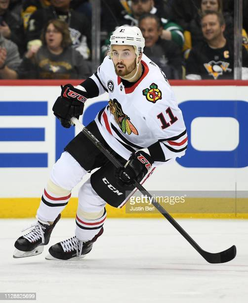 Brendan Perlini of the Chicago Blackhawks skates in the first period during the game against the Pittsburgh Penguins at PPG PAINTS Arena on January 6...