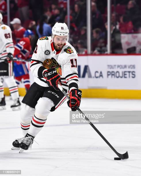 Brendan Perlini of the Chicago Blackhawks skates the puck during the warmup prior to the NHL game against the Montreal Canadiens at the Bell Centre...