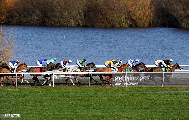 Brendan Powell riding Dawn Commander on their way to winning The Book Now For Silver Cup Day National Hunt Flat Race at Kempton Park racecourse on...