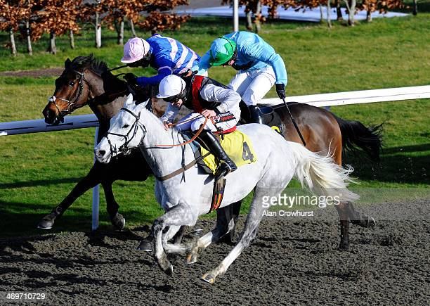Brendan Powell riding Dawn Commander win The Book Now For Silver Cup Day National Hunt Flat Race at Kempton Park racecourse on February 16 2014 in...