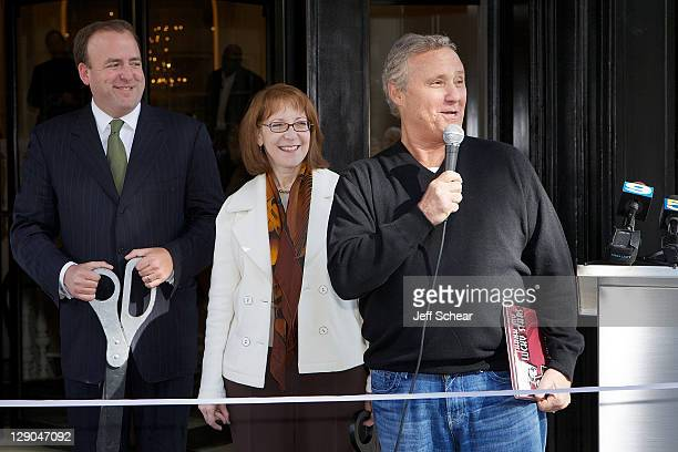 Brendan Reilly Michele Smith and Ian Schrager attend the premiere of Ian Schrager's new hotel PUBLIC Chicago on October 11 2011 in Chicago Illinois