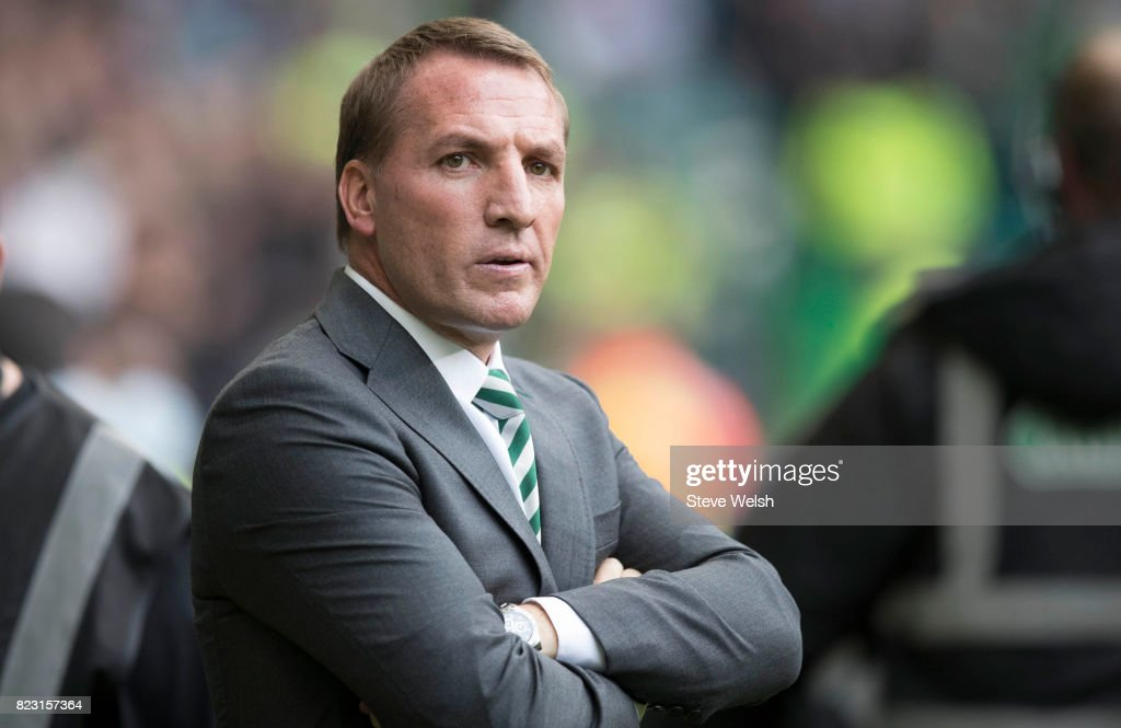Brendan Rodgers Celtic Manager looks on during the UEFA Champions League Qualifying Third Round, First Leg match between Celtic and Rosenborg at Celtic Park Stadium on July 26, 2017 in Glasgow, Scotland.