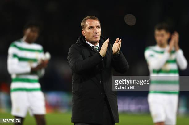 Brendan Rodgers coach of Celtic applauds the fans after the UEFA Champions League group B match between Paris SaintGermain and Celtic FC at Parc des...