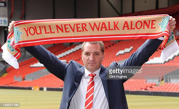 Brendan Rodgers is unveiled as the new Liverpool FC manager at a press conference at Anfield on June 01 2012 in Liverpool England