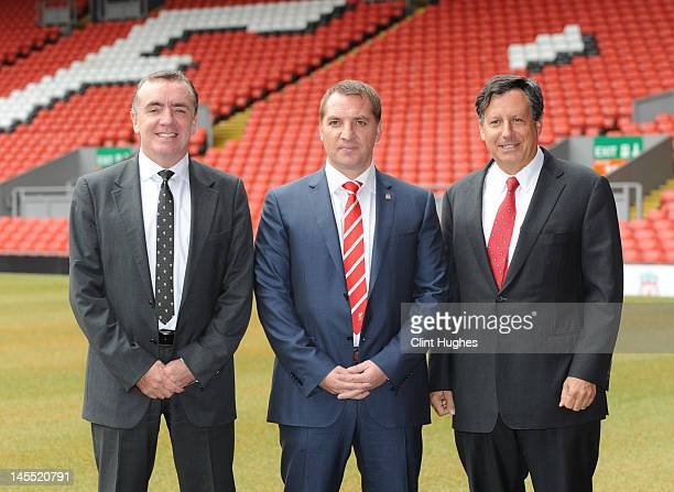 Brendan Rodgers is unveiled as the new Liverpool FC manager by Managing Director Ian Ayre and Chaiman Tom Werner at a press conference at Anfield on...