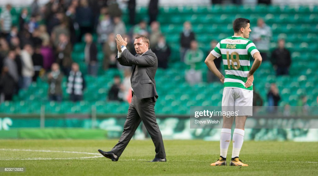 Brendan Rodgers manager of Celtic applauds the fans at the end of the match during the UEFA Champions League Qualifying Third Round,First Leg match between Celtic and Rosenborg at Celtic Park Stadium on July 26, 2017 in Glasgow, Scotland.