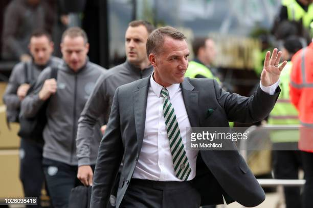 Brendan Rodgers Manager of Celtic arrives outside the stadium prior to the Scottish Premier League match between Celtic and Rangers at Celtic Park...