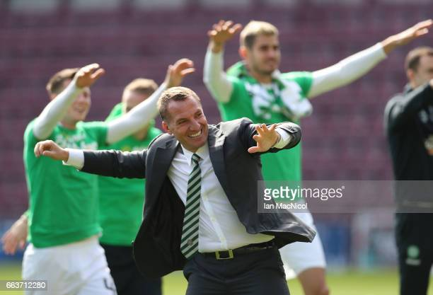 Brendan Rodgers manager of Celtic celebrates winning the league title after beating Hearts 50 after the Ladbrokes Scottish Premiership match between...