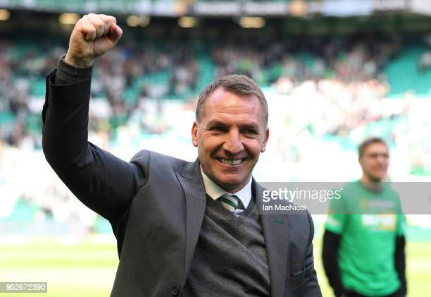 Brendan Rodgers manager of Celtic celebrates winning the leauge after the Scottish Premier League match between Celtic and Rangers at Celtic Park on...
