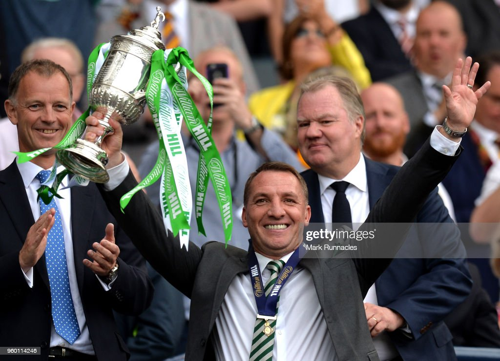 Brendan Rodgers, Manager of Celtic celebrates with the Scottish Cup Trophy following the Scottish Cup Final between Motherwell and Celtic at Hampden Park on May 19, 2018 in Glasgow, Scotland.