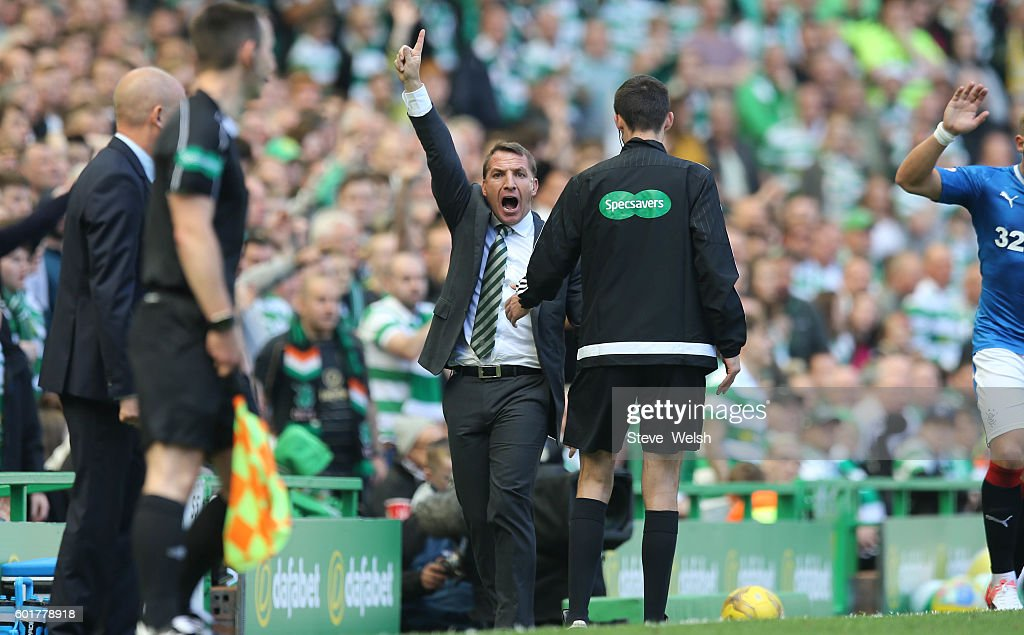 Brendan Rodgers manager of Celtic during the Ladbrokes Scottish Premiership match between Celtic and Rangers on September 10, 2016 in Glasgow.