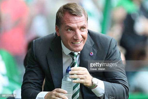 Brendan Rodgers Manager of Celtic during the UEFA Champions League Qualifying PlayOff 1st Leg between Celtic and Hapoel Be'er Sheva at Celtic Park on...