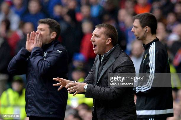 Brendan Rodgers manager of Celtic gives his team instructions during the Ladbrokes Scottish Premiership match between Celtic and Rangers at Celtic...