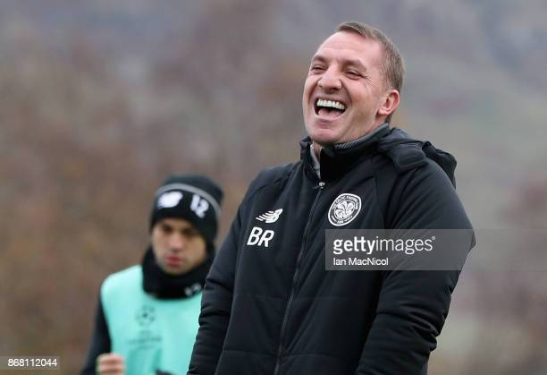 Brendan Rodgers manager of Celtic laughs during the Celtic Training Session prior to the Group B UEFA Champions League match between Celtic and...
