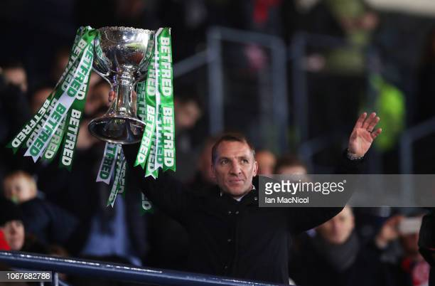 Brendan Rodgers Manager of Celtic lifts the trophy in victory after the Betfred Cup Final between Celtic and Aberdeen at Hampden Park on December 2...