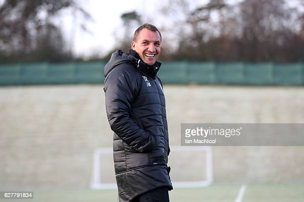 Brendan Rodgers manager of Celtic looks on during a training session ahead of the UEFA Champions League group C match against Manchester City at...