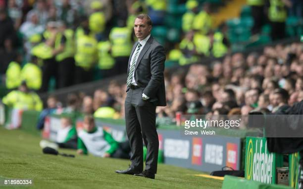Brendan Rodgers Manager of Celtic looks on during the UEFA Champions League Qualifying Second RoundSecond Leg match between Celtic and Linfield at...