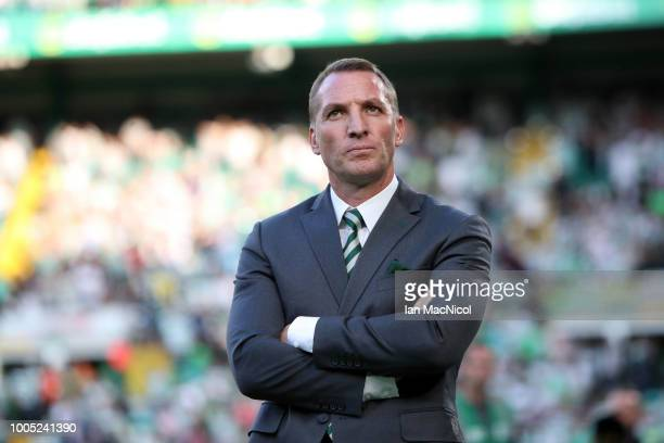 Brendan Rodgers manager of Celtic looks on prior to the first leg UEFA Champions League Qualifier match between Celtic and Rosenborg at Celtic Park...