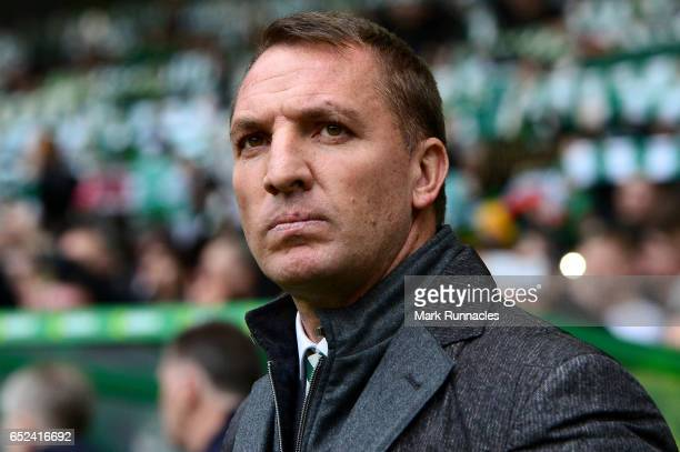 Brendan Rodgers manager of Celtic looks on prior to the Ladbrokes Scottish Premiership match between Celtic and Rangers at Celtic Park on March 12...