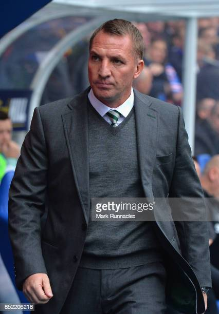 Brendan Rodgers manager of Celtic makes his way to his seat prior to the Ladbrokes Scottish Premiership match between Rangers and Celtic at Ibrox...