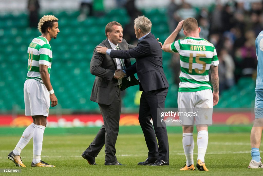 Brendan Rodgers Manager of Celtic shakes the hand of Rosenborg Manager Kare Ingebrightsen at the end during the UEFA Champions League Qualifying Third Round,First Leg match between Celtic and Rosenborg at Celtic Park Stadium on July 26, 2017 in Glasgow, Scotland.