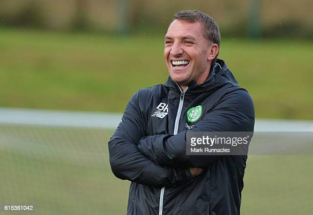 Brendan Rodgers manager of Celtic smiles during a Celtic training session on the eve of their UEFA Champions League Group C match against Borussia...