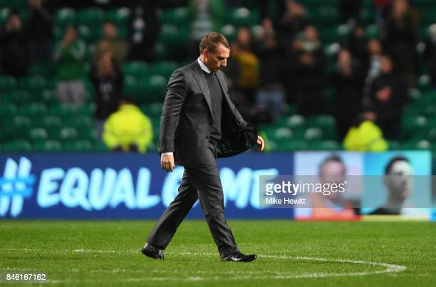 Brendan Rodgers manager of Celtic walks off dejected after the UEFA Champions League Group B match between Celtic and Paris Saint Germain at Celtic...