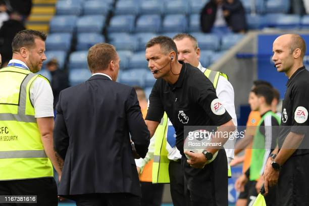 Brendan Rodgers Manager of Leicester City acknowledges referee Andre Marriner after the Premier League match between Leicester City and Wolverhampton...