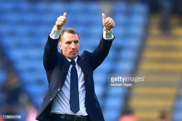 Brendan Rodgers Manager of Leicester City acknowledges the fans after the Premier League match between Leicester City and AFC Bournemouth at The King...
