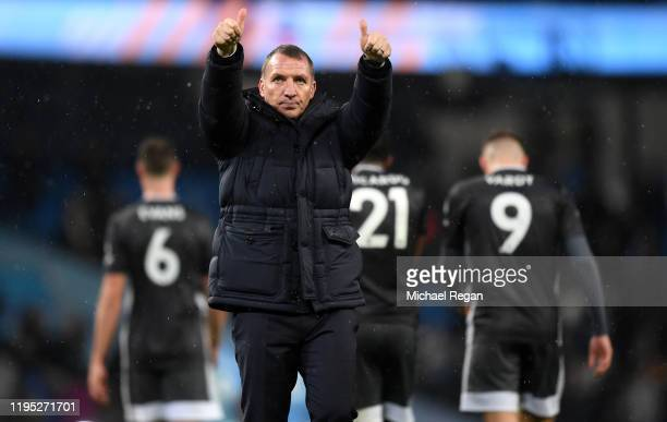 Brendan Rodgers Manager of Leicester City acknowledges the fans following the Premier League match between Manchester City and Leicester City at...