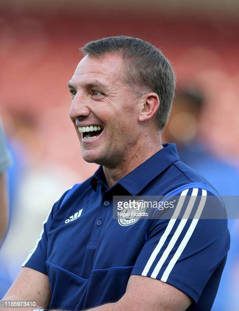 Brendan Rodgers manager of Leicester City ahead of the Pre-Season Friendly match between Scunthorpe United and Leicester City at Glanford Park on...