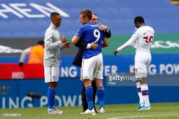 Brendan Rodgers Manager of Leicester City and Jamie Vardy of Leicester City celebrate following the Premier League match between Leicester City and...