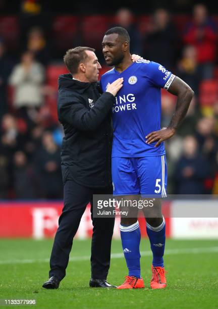 Brendan Rodgers Manager of Leicester City and Wes Morgan of Leicester City speak after the match during the Premier League match between Watford FC...