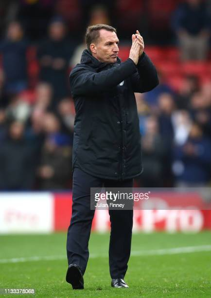 Brendan Rodgers Manager of Leicester City applauds fans after the match during the Premier League match between Watford FC and Leicester City at...