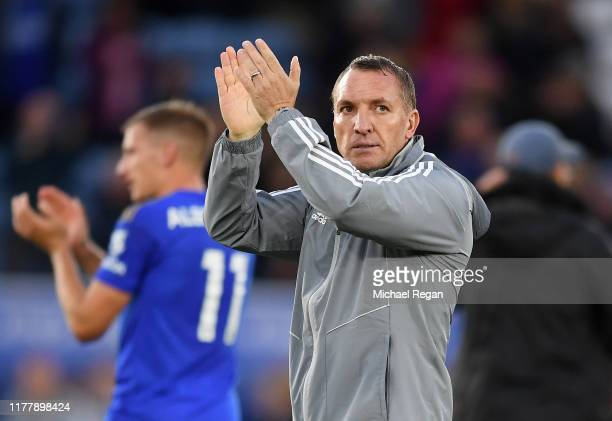 Brendan Rodgers Manager of Leicester City applauds fans after the Premier League match between Leicester City and Newcastle United at The King Power...