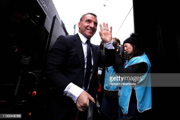 Brendan Rodgers Manager of Leicester City arrives at the stadium ahead of the Premier League match between Watford FC and Leicester City at Vicarage...