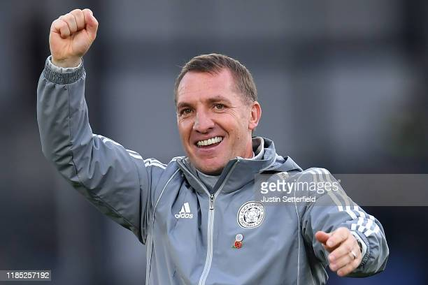 Brendan Rodgers Manager of Leicester City celebrates after the Premier League match between Crystal Palace and Leicester City at Selhurst Park on...