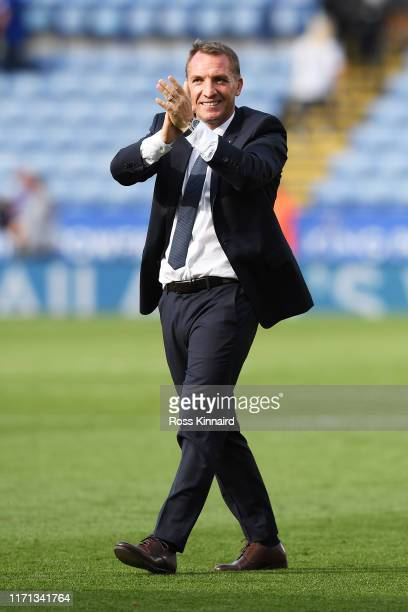 Brendan Rodgers Manager of Leicester City celebrates following his sides victory in the Premier League match between Leicester City and AFC...