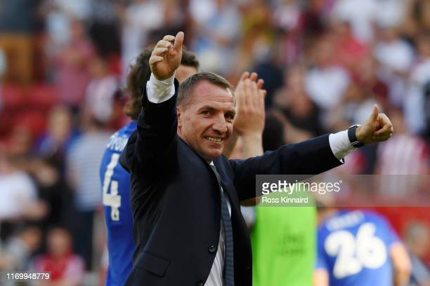 Brendan Rodgers Manager of Leicester City celebrates victory after the Premier League match between Sheffield United and Leicester City at Bramall...