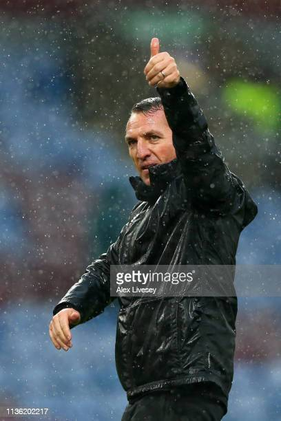 Brendan Rodgers Manager of Leicester City celebrates victory follow the Premier League match between Burnley FC and Leicester City at Turf Moor on...