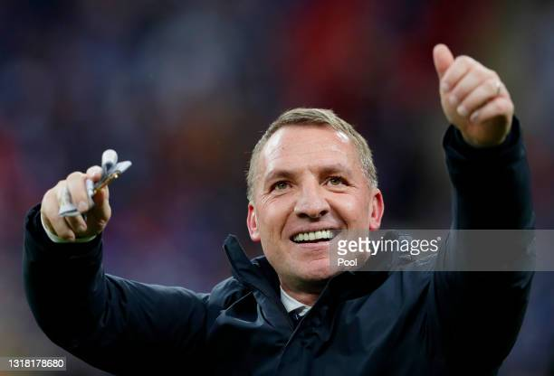Brendan Rodgers, Manager of Leicester City celebrates with his Emirates FA Cup winners medal following The Emirates FA Cup Final match between...