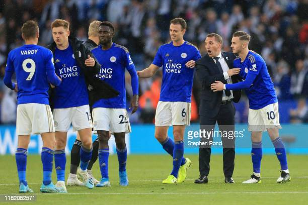 Brendan Rodgers, Manager of Leicester City celebrates with his players following the Premier League match between Leicester City and Burnley FC at...