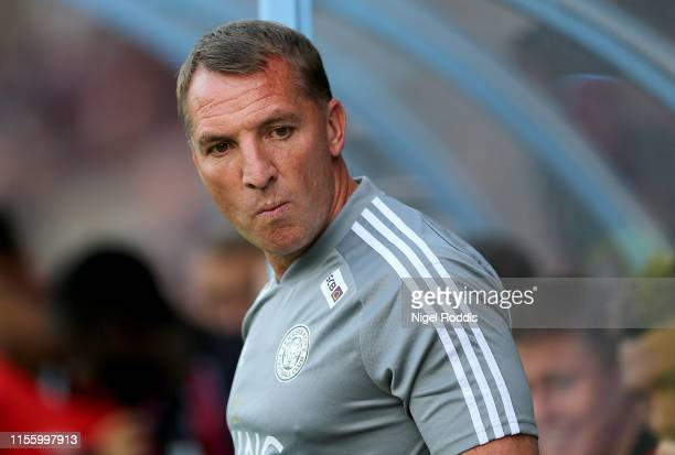 Brendan Rodgers manager of Leicester City gestures ahead of the PreSeason Friendly match between Scunthorpe United and Leicester City at Glanford...