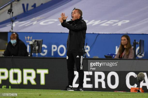 Brendan Rodgers Manager of Leicester City gives his team instructions during the Premier League match between Leicester City and Burnley at The King...