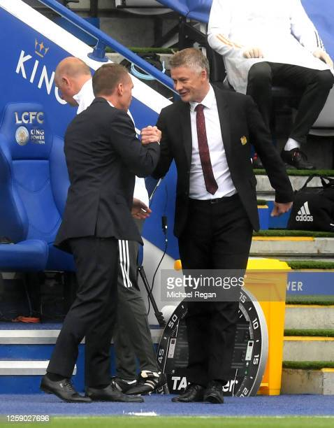 Brendan Rodgers Manager of Leicester City greets Ole Gunnar Solskjaer Manager of Manchester United prior to the Premier League match between...